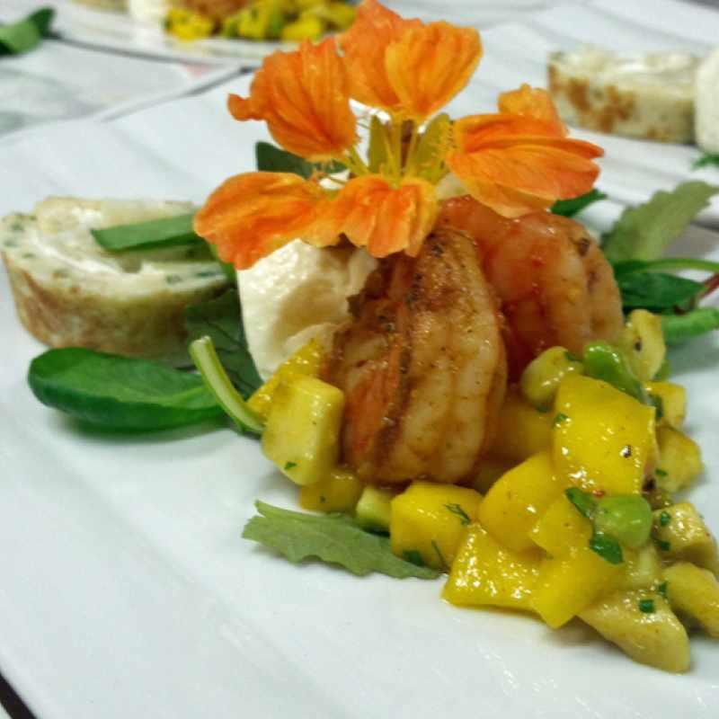Ziegenfrischkäse, Mango und gebratener Scampi | Messerich Catering