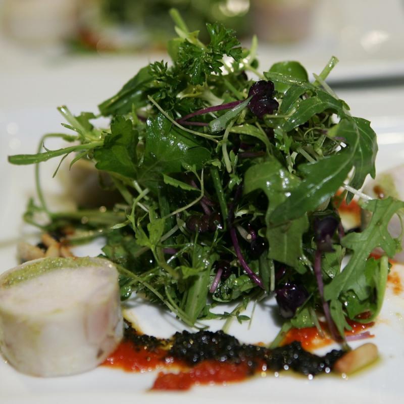 Wildkräutersalat mit zweierlei Pesto, Roulade von der Poularde  | Messerich Catering