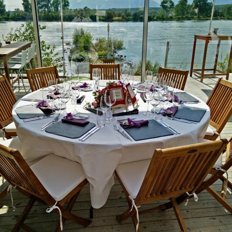 Gedeckter Hochzeitstisch, Insel Nonnenau | Messerich Catering
